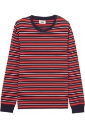 Sleepy Jones Stevie Striped Cotton Pajama Top Red