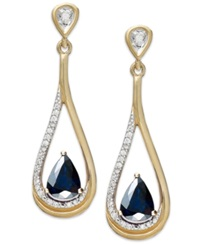 Macy's 14K Gold Necklace Sapphire 9 10 Ct. T.W. And Diamond 1 10 Ct. T.W. Pear Shaped Drop Earrings