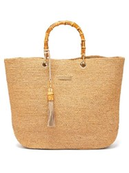 Heidi Klein Savannah Medium Bamboo Handle Raffia Tote Bag Beige