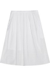 Michael Michael Kors Pleated Broderie Anglaise Cotton Skirt White