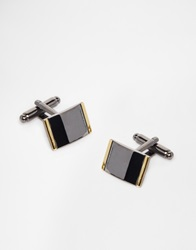 Asos Cufflinks With Gold Edge Black