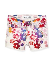 Dl Premium Denim Lucy Floral Activex Cutoff Shorts Marmalade Orange