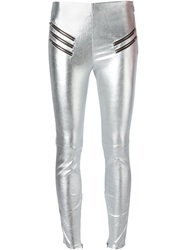 Saint Laurent Zip Detail Leggings Grey