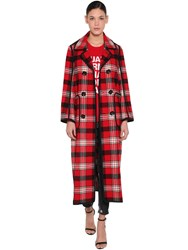 Dsquared Check Double Breast Wool Coat Multicolor
