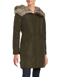 Vince Camuto Faux Fur Trim Hooded Parka Forest