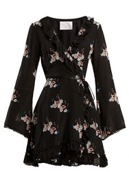 Athena Procopiou Floral Print Silk Dress Black Print