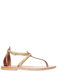 K Jacques St.Tropez Buffon Embossed Patent Leather Sandals Beige Brown