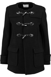Sandro Makao Leather Trimmed Wool Blend Coat Black