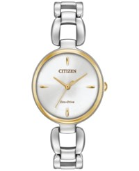 Citizen Women's Eco Drive Stainless Steel Bracelet Watch 28X30mm Em0424 53A Two Tone