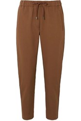 Brunello Cucinelli Bead Embellished Cropped Stretch Cotton And Wool Blend Tapered Track Pants Camel