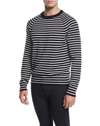 Vince Striped Wool Sweater Blk Stormy White