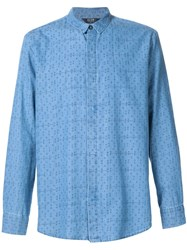Neuw Printed Denim Shirt Blue