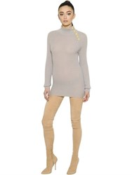 Balmain Ribbed Mohair Blend Sweater Mini Dress