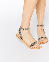 Asos Fancy Me Leather Sandals Naturalsnake