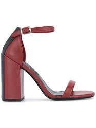 Senso Lana Sandals Calf Leather Pig Leather Synthetic Resin Red