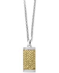 Effy Men's Two Tone Woven Look Dog Tag Pendant Necklace In Sterling Silver And 18K Gold Plated Sterling Silver Two Tone