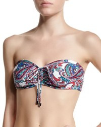 Shoshanna Paisley Print Convertible Cinched Swim Top White Multi