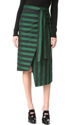 Rochas Striped Wrap Skirt Medium Green
