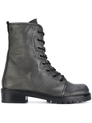 Stuart Weitzman Metermaid Lace Up Boots Leather Rubber Grey