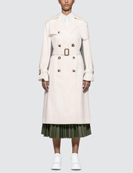 Alexander Mcqueen Houndstooth Panel Plaid Trench Coat White