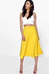 Boohoo Plain Full Circle Midi Skirt Yellow
