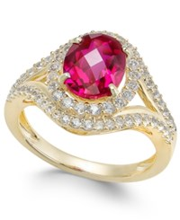 Macy's Lab Created Ruby 2 Ct. T.W. And White Sapphire 3 4 Ct. T.W. In Gold Plated Sterling Silver Yellow Gold
