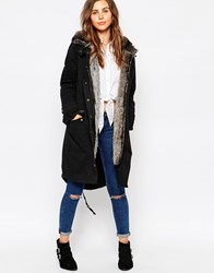 Glamorous Parka With Faux Fur Lined Hood Black