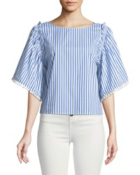 Ella Moss Boxy Striped Flutter Sleeve Top Blue