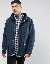 Farah Lonsbury Patch Parka Hooded Jacket In Navy Yale 996