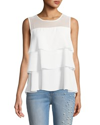 Cynthia Steffe Sleeveless Tiered Chiffon Top White