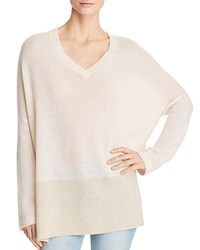 Bloomingdale's C By Color Block Cashmere Sweater 100 Exclusive Ivory