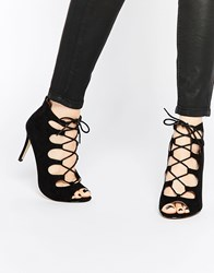 Oasis Lace Up Heeled Sandals Black