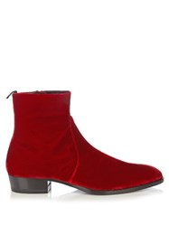 Saint Laurent Hedi Velvet Ankle Boots Red