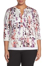Plus Size Women's Halogen Floral Print Cardigan White Pink Spliced Floral