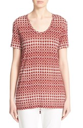 Women's St. John Collection Embellished Abstract Diamond And Dot Print Top