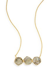 Argentovivo Three Stone Pendant Necklace Gold