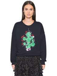 Just Cavalli Cactus Embroidered Cotton Sweatshirt