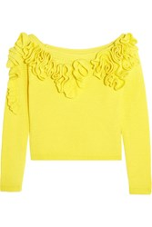 Delpozo Off The Shoulder Ruffled Basketweave Cotton Top Yellow