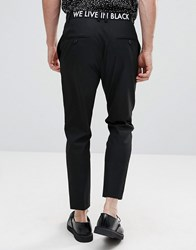 Religion Skinny Trousers With Waistband Print Black