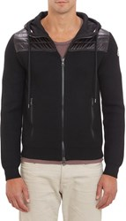 Moncler Quilted Yoke Zip Up Hoodie Black