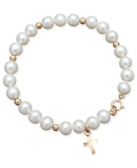 Macy's Pearl Bracelet Children's 14K Gold Cultured Freshwater Pearl Cross Charm