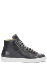 Mr. Hare Jack Johnson Dark Grey Leather Hi Top Trainers