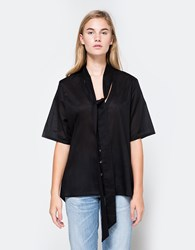 Matin Button Shirt With Scarf Black
