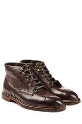 Dolce And Gabbana Leather Ankle Boots Brown