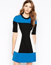 Y.A.S High Neck Short Sleeve Colourblock Dress Princessblueblack