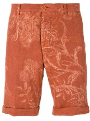 Etro Floral Print Chino Shorts Men Linen Flax 50 Yellow Orange