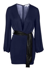 Plunge Mini Dress With Pu Belt By Rare Navy Blue