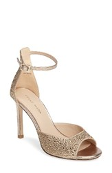 Pelle Moda Women's Crystal Embellished Ankle Strap Sandal Platinum Gold Leather