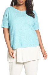 Eileen Fisher Plus Size Women's Organic Linen And Cotton Short Sweater Scarb