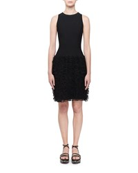 Alaia Ruffle Bottom Sleeveless Dress Black